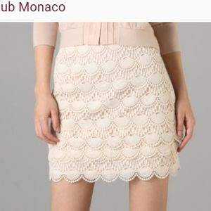Club Monaco Beige Lace Tiered Mini skirt, sz 8